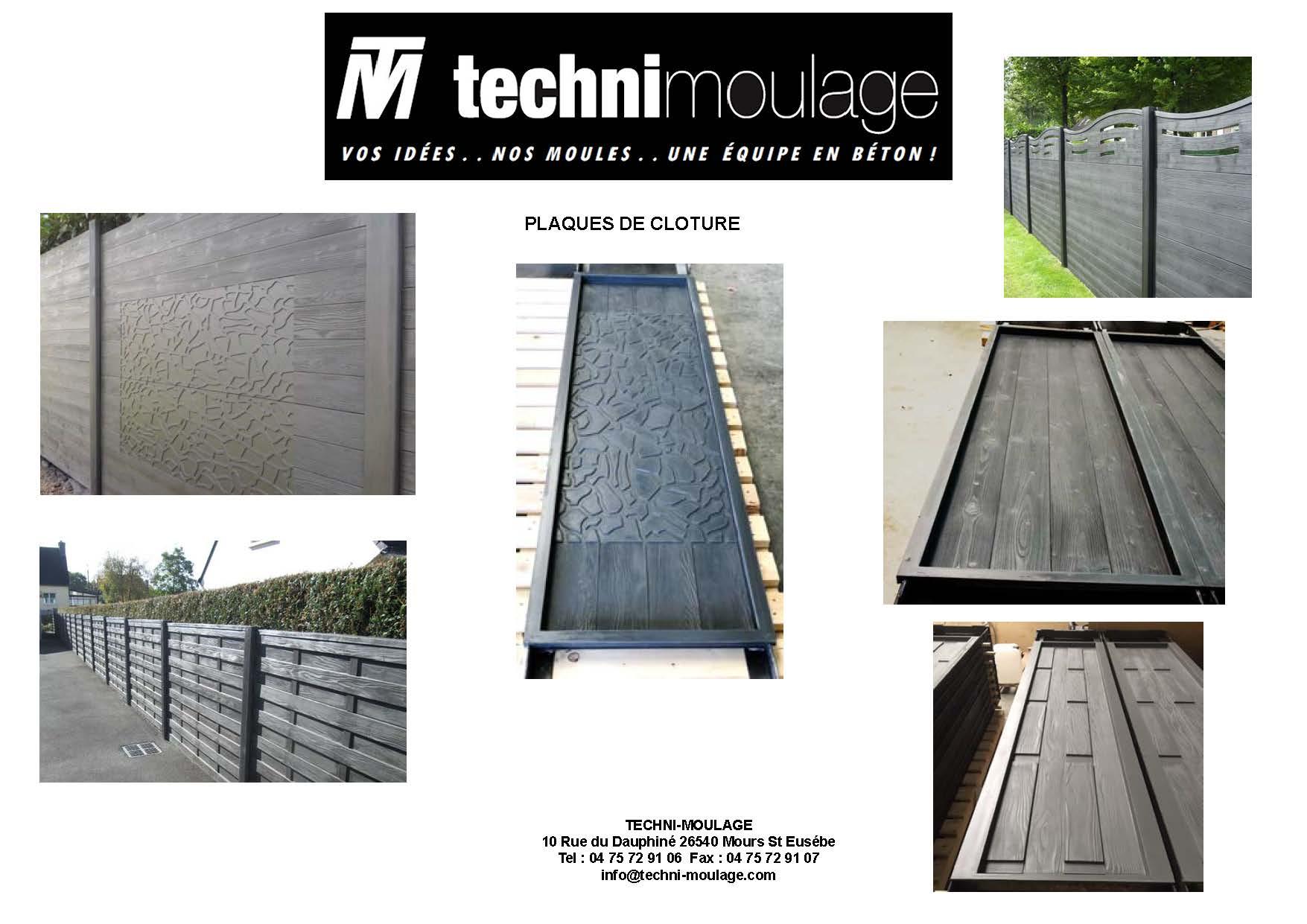 Moule polyuréthane de plaques de clôture béton